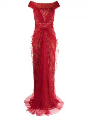 Платье с открытыми плечами Tadashi Shoji. Цвет: красный