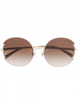 Солнцезащитные очки в круглой оправе Tiffany & Co Eyewear. Цвет: коричневый