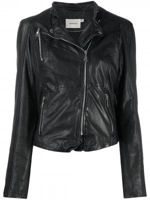 Байкерская куртка с эффектом потертости Gestuz. Цвет: черный