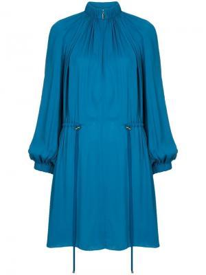 Укороченное платье сборного дизайна с талией на шнурке Tibi. Цвет: синий