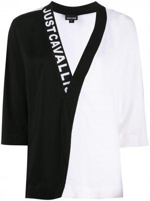 Двухцветная блузка с логотипом Just Cavalli. Цвет: белый