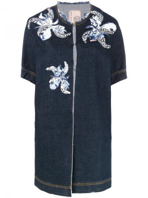 Джинсовая куртка с заплатками в виде цветков Antonio Marras. Цвет: синий