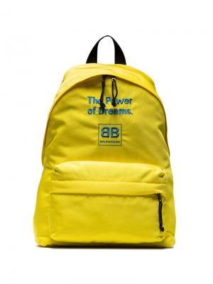 Рюкзак с вышивкой Power of Dreams Balenciaga. Цвет: желтый
