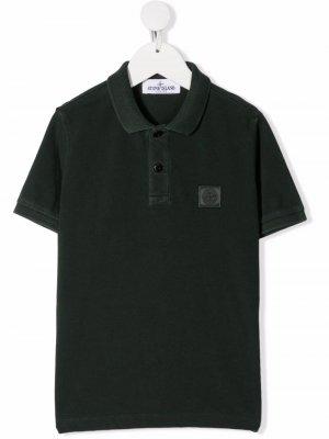 Рубашка поло с нашивкой-логотипом Stone Island Junior. Цвет: зеленый