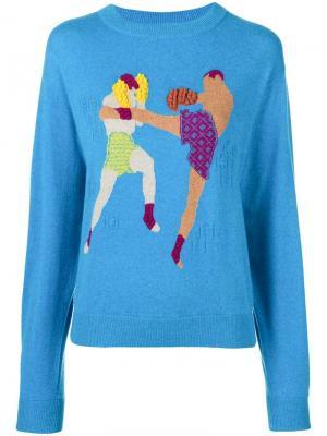 Кашемировый пуловер Chessboxing с круглым вырезом Barrie. Цвет: синий
