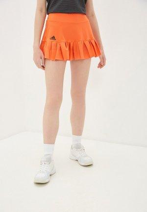 Юбка adidas. Цвет: оранжевый