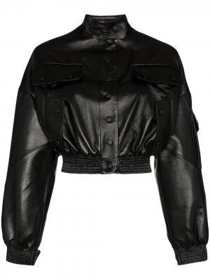 Укороченная куртка-бомбер из искусственной кожи Materiel. Цвет: черный