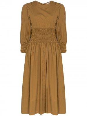 Платье миди Arianna с присборенной талией Three Graces. Цвет: коричневый