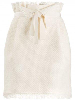 Твидовая юбка мини с присборенной талией Alberta Ferretti. Цвет: белый
