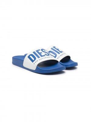 Шлепанцы с логотипом Diesel Kids. Цвет: синий