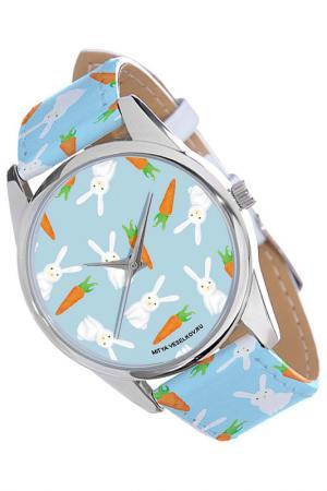 Часы Зайки и морковки MITYA VESELKOV. Цвет: голубой