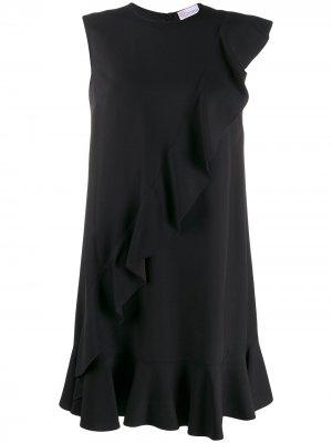 Платье с оборками RED Valentino. Цвет: черный
