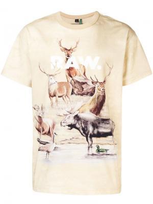Deer print T-shirt G-Star Raw Research. Цвет: нейтральные цвета