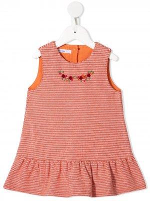 Платье-трапеция с вышивкой Familiar. Цвет: красный