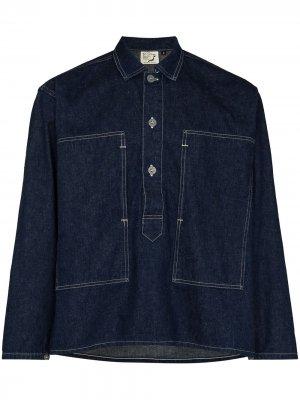 Джинсовая куртка-рубашка с контрастной строчкой Orslow. Цвет: синий