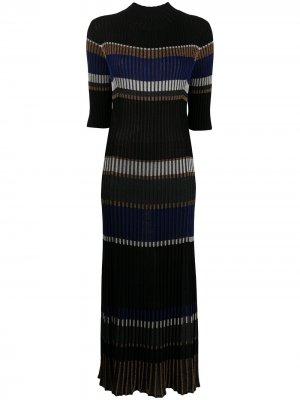 Трикотажное платье в горизонтальную полоску Proenza Schouler. Цвет: черный