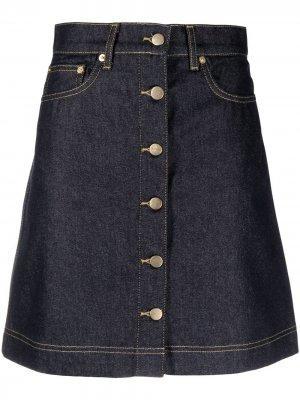Джинсовая юбка с завышенной талией REMAIN. Цвет: синий