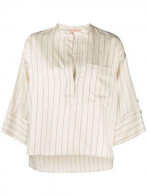 Полосатая блузка с укороченными рукавами Nude. Цвет: нейтральные цвета