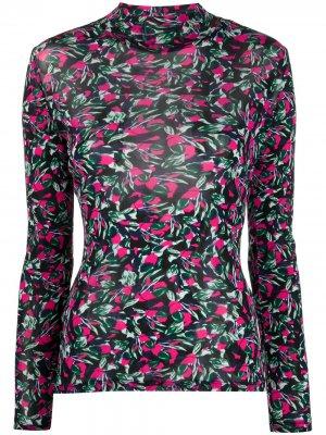 Блузка с длинными рукавами и цветочным принтом DVF Diane von Furstenberg. Цвет: розовый