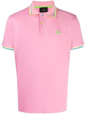 Рубашка поло с вышивкой и окантовкой в полоску Peuterey. Цвет: розовый