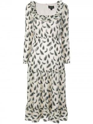 Платье макси с абстрактным принтом Saloni. Цвет: белый