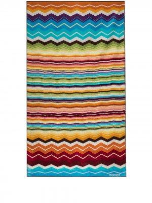 Пляжное полотенце Hugo с узором зигзаг Missoni Home. Цвет: синий