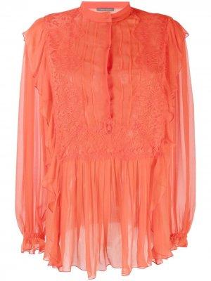 Блузка с кружевными вставками Alberta Ferretti. Цвет: оранжевый