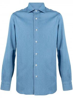 Джинсовая рубашка на пуговицах Barba. Цвет: синий
