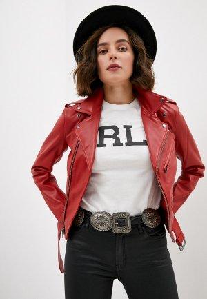 Куртка кожаная Polo Ralph Lauren. Цвет: красный