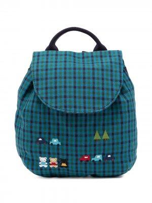 Клетчатый рюкзак с аппликацией Familiar. Цвет: зеленый