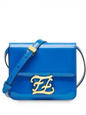 Karligraphy patent leather shoulder bag Fendi. Цвет: синий
