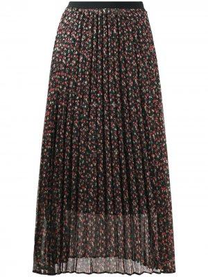 Плиссированная юбка с цветочным принтом LIU JO. Цвет: черный
