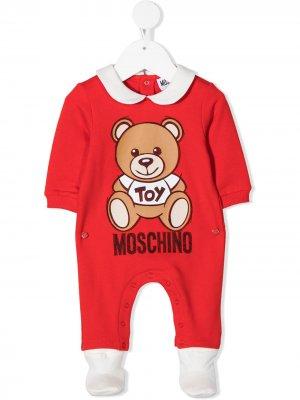 Пижама с принтом Moschino Kids. Цвет: красный