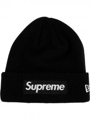 Шапка бини с логотипом Supreme. Цвет: черный