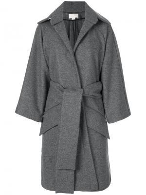 Пальто свободного кроя с запахом Antonio Berardi. Цвет: серый