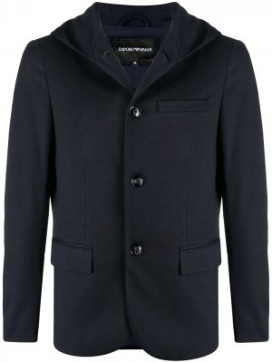 Пиджак с капюшоном Emporio Armani. Цвет: синий