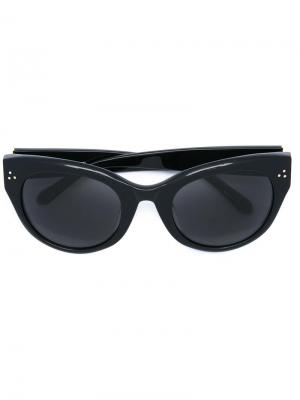 Солнцезащитные очки в оправе кошачий глаз Linda Farrow. Цвет: черный