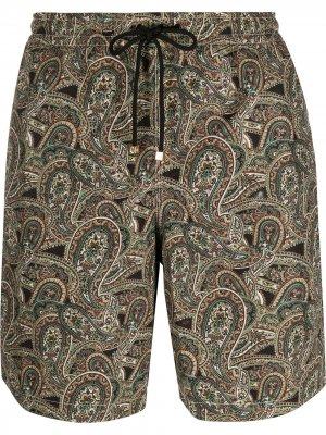 Плавки-шорты с принтом пейсли Billionaire. Цвет: черный