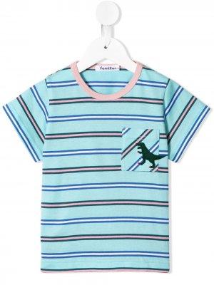 Полосатая футболка с нашивкой Familiar. Цвет: синий