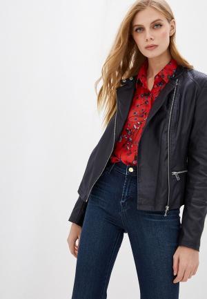 Куртка кожаная DKNY. Цвет: синий