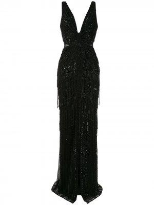 Платье макси без рукавов Zuhair Murad. Цвет: черный