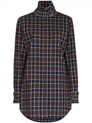 Клетчатая блузка с оборками Victoria Beckham. Цвет: коричневый