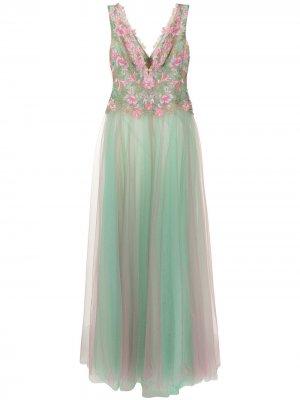 Вечернее платье Churan с цветочной вышивкой Tadashi Shoji. Цвет: зеленый