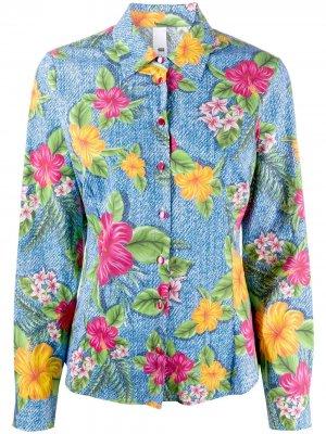 Джинсовая рубашка с цветочным принтом и длинными рукавами Ultràchic. Цвет: синий