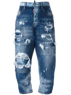Лоскутные джинсы Kawaii с рваными деталями Dsquared2. Цвет: синий