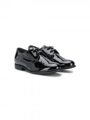 Лакированные туфли на шнуровке Monnalisa. Цвет: черный