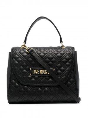 Стеганая сумка-тоут с логотипом Love Moschino. Цвет: черный