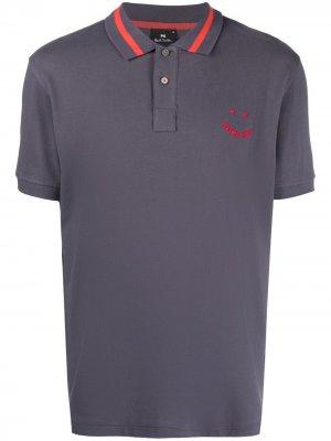Рубашка поло с вышитым логотипом PS Paul Smith. Цвет: синий