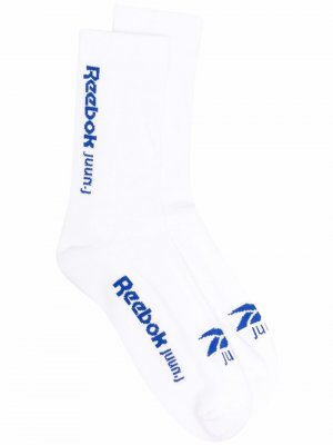 Носки вязки интарсия с логотипом Reebok. Цвет: белый
