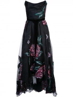 Платье с корсетом и цветочными нашивками Marchesa Notte. Цвет: черный